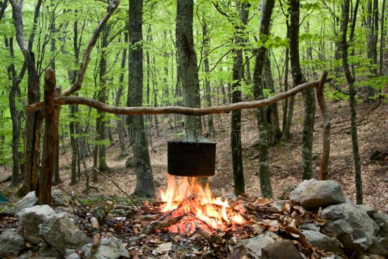 Chaleira no incêndio imagem de stock royalty free