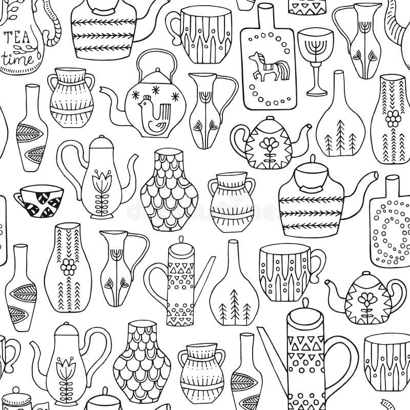 Chaleiras e teste padrão sem emenda dos jarros Utensílios tirados mão da cozinha com o ornamento diferente no fundo branco ilustração do vetor