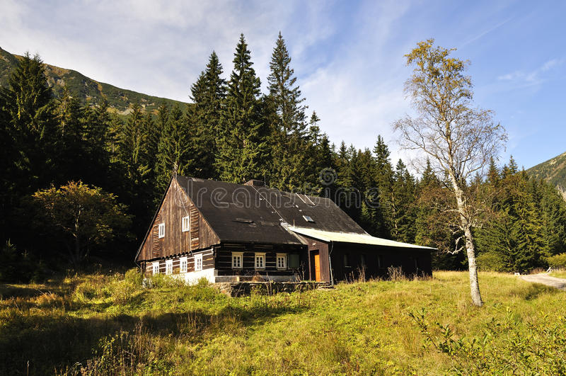Chalet. In the national park Krkonose Czech royalty free stock image
