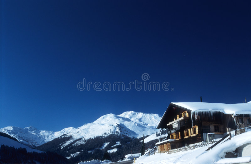 Download Chalet in Austrian Alps stock image. Image of austrian, blue - 92137