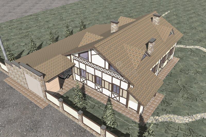 Chalet de dos pisos ilustración del vector