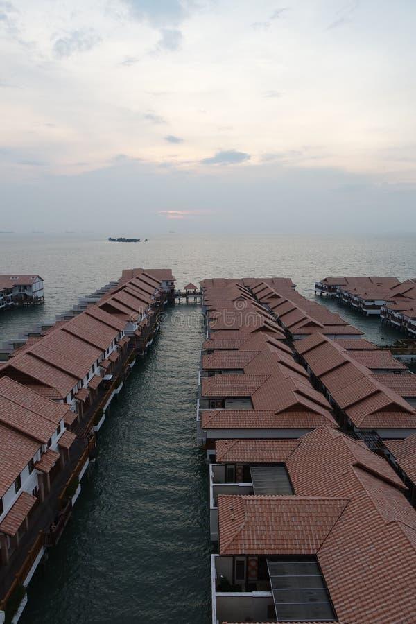 Chalet del agua en el puerto Dickson de Malasia fotos de archivo libres de regalías