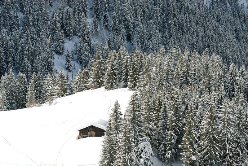 Chalet en invierno fotos de archivo