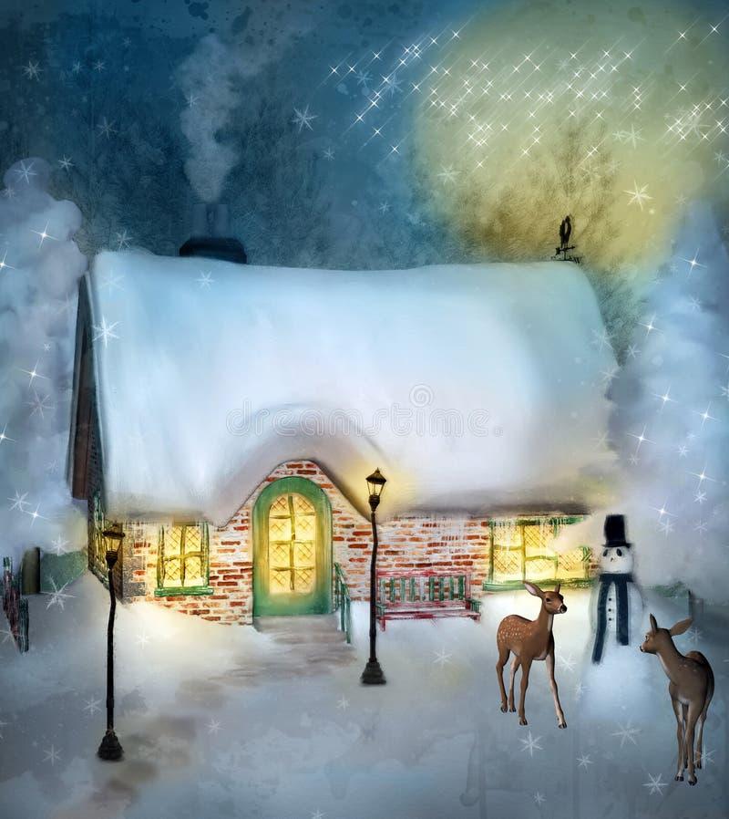 Chalet enchanté dans un paysage d'hiver illustration libre de droits