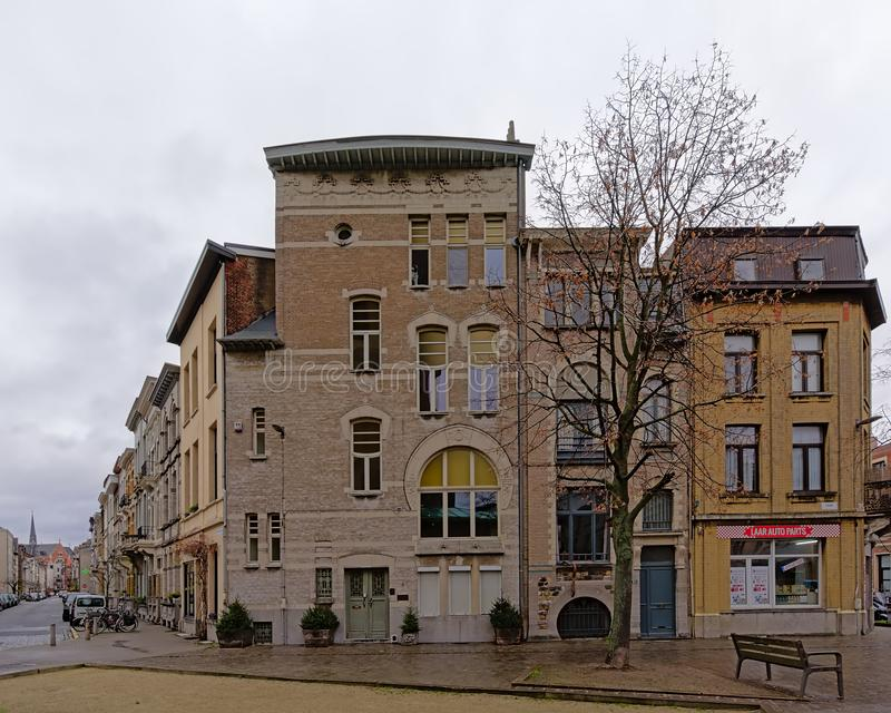 Chalet flamenco neo ecléctico del renacimiento en el distrito de Zurenborg, Amberes imagen de archivo