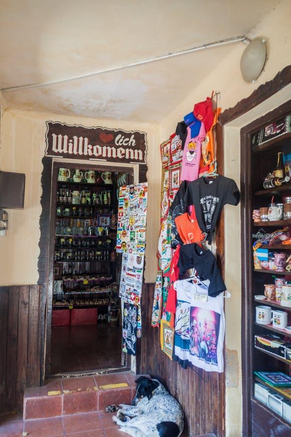 CHALET GENERAL BELGRANO, LA ARGENTINA - 3 DE ABRIL DE 2015: Tienda de souvenirs en el chalet General Belgrano, la Argentina Del p foto de archivo