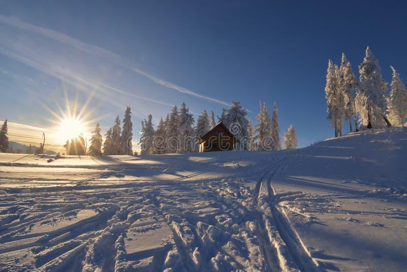 Chalet i bergen i vintersäsong arkivbilder
