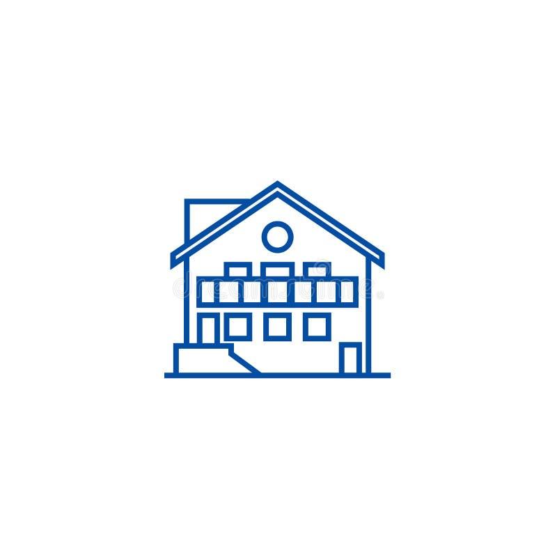 Chalet line icon concept. Chalet flat  vector symbol, sign, outline illustration. royalty free illustration
