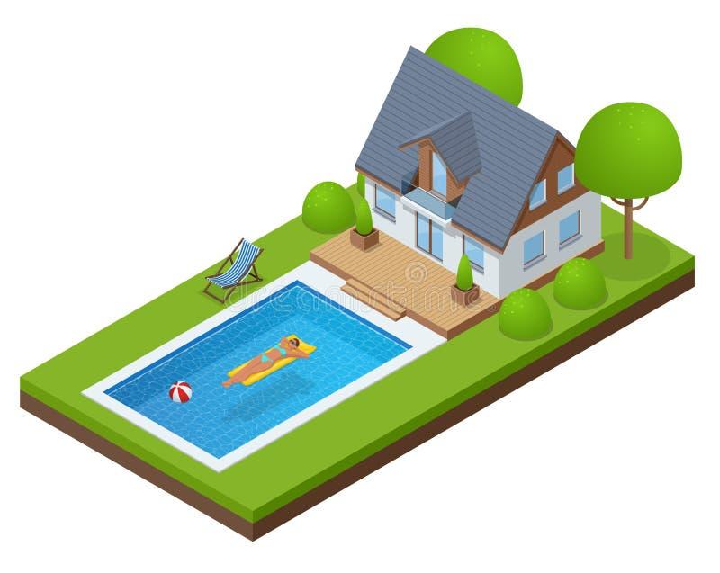 Chalet moderno isométrico al aire libre con la piscina Gozando de la mujer del bronceado en bikini y hombre en el colchón inflabl stock de ilustración