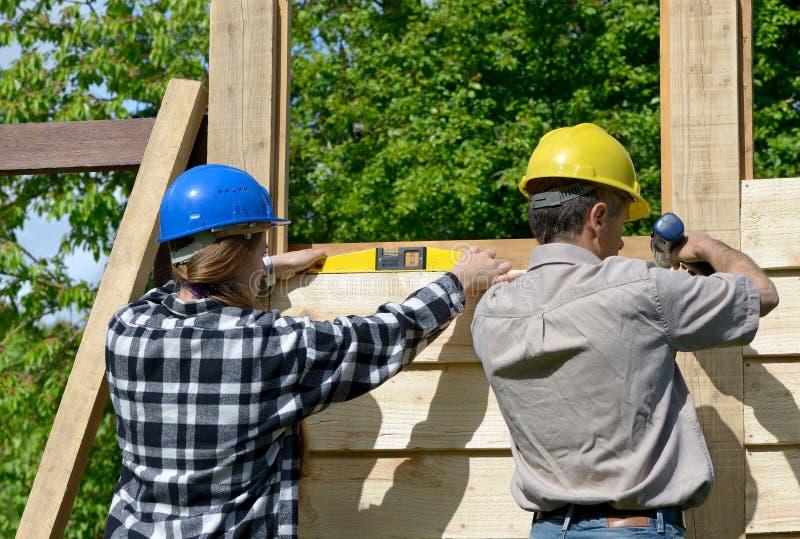 Chalet quatre de construction photographie stock