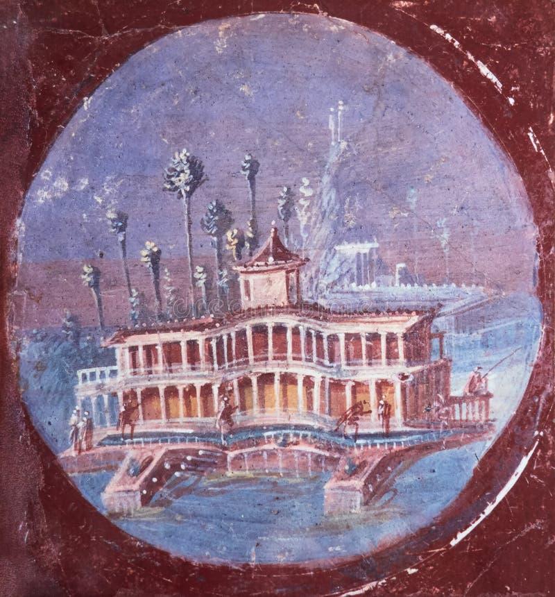 Chalet romano antiguo en fresco en un fondo rojo en un Domus de Pompeya fotografía de archivo libre de regalías
