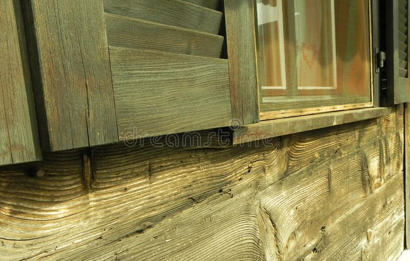 Chalet, Switzerland, wooden walls and window. royalty free stock image
