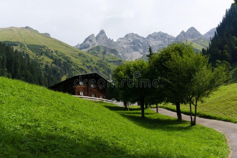 Chalet tradicional en las montañas europeas en un pasto verde de la montaña fotos de archivo libres de regalías