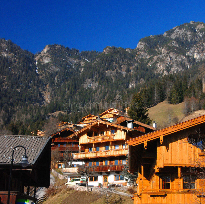 Chalets. Traditional chalets in Alpbach village, Tyrol region, Austria royalty free stock photo