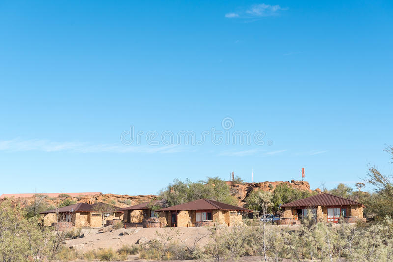 Chalets in the Augrabies Falls National Park. AUGRABIES FALLS NATIONAL PARK, SOUTH AFRICA - JUNE 12, 2017: Chalets in the Augrabies Falls National Park in the stock photos