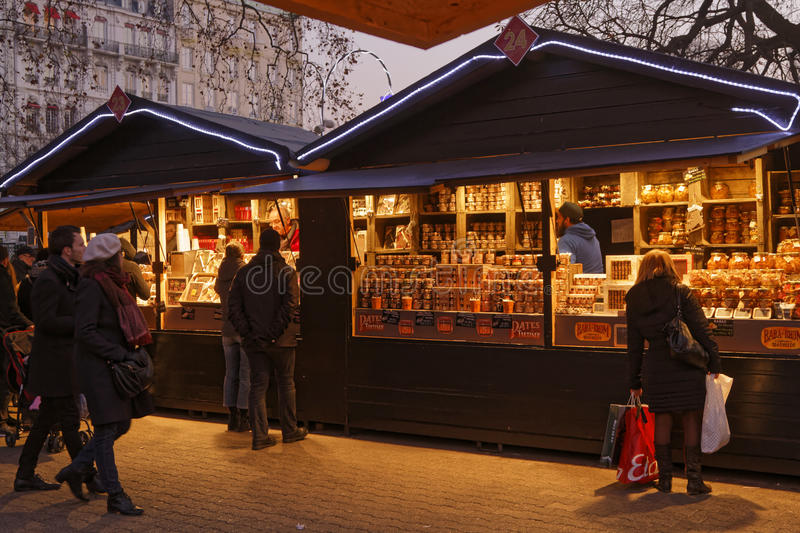 Chalets of Christmas market in Lyon. LYON, FRANCE, December 17, 2016 : The Christmas market of Lyon, a village of more than 130 chalets on the Place Carnot stock photos