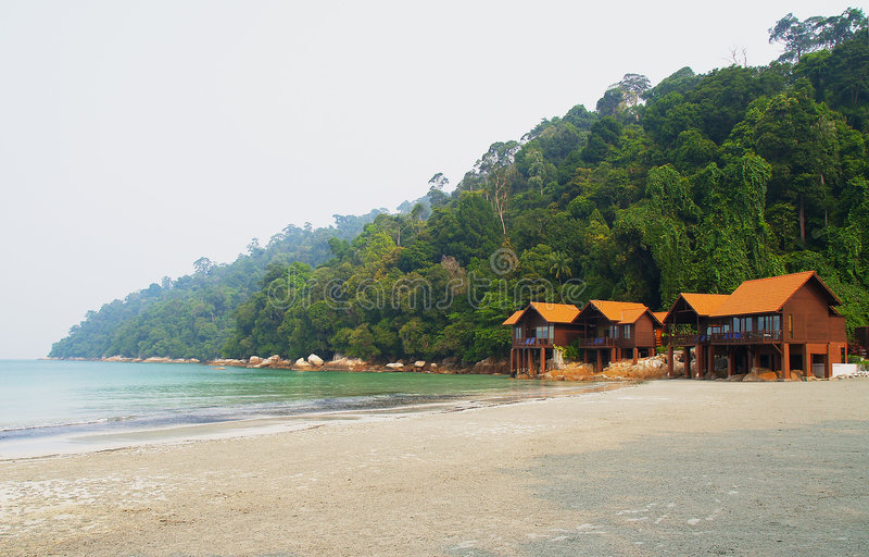 Chalets de plage image libre de droits