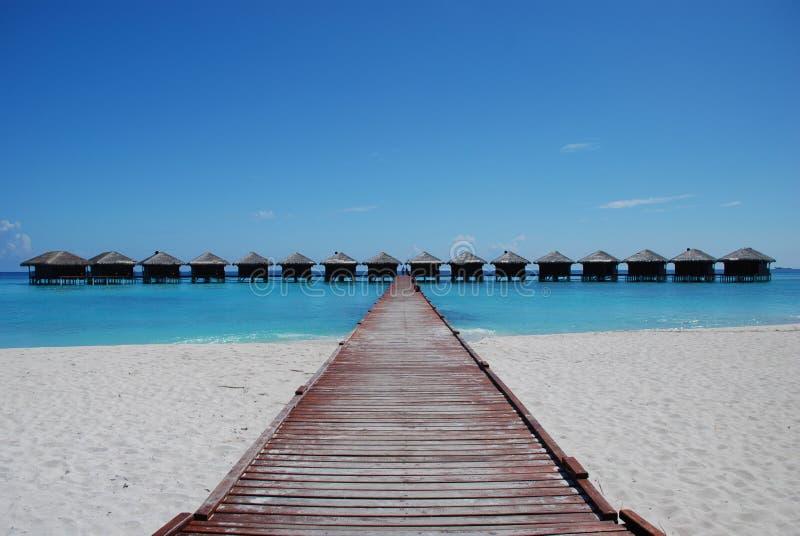 Chalets del agua de Maldives imagen de archivo libre de regalías