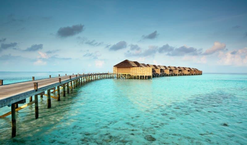 Chalets del agua en los Maldives fotografía de archivo libre de regalías