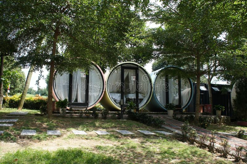 Chalets designed from stacked precast concrete culverts. KUALA LUMPUR, MALAYSIA -NOVEMBER 26, 2018: Chalets designed from stacked precast concrete culverts. It` royalty free stock photo