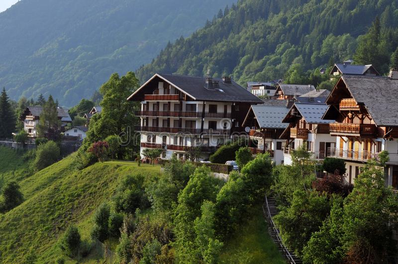 Village of Morzine in the French Alps. Chalets on a mountain side in the village of Morzine stock images