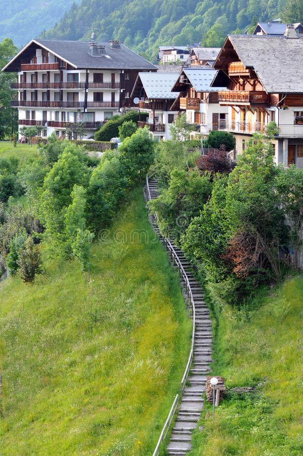 Village of Morzine in the French Alps. Chalets of a mountain village in France stock images