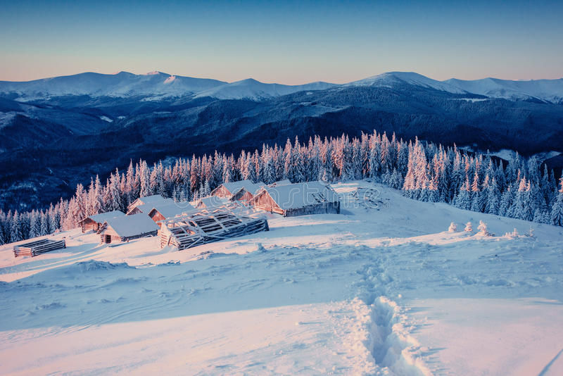 Chalets in the mountains at sunset. Carpathian Ukraine. Europe stock images