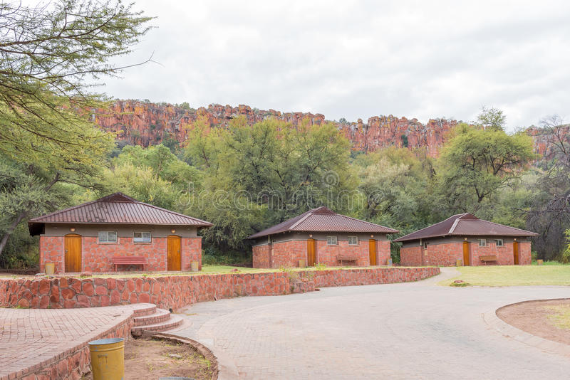 Chalets in rest camp of Waterberg Plateau National Park. WATERBERG PLATEAU NATIONAL PARK, NAMIBIA - JUNE 19, 2017: Chalets in the rest camp in the Waterberg stock image