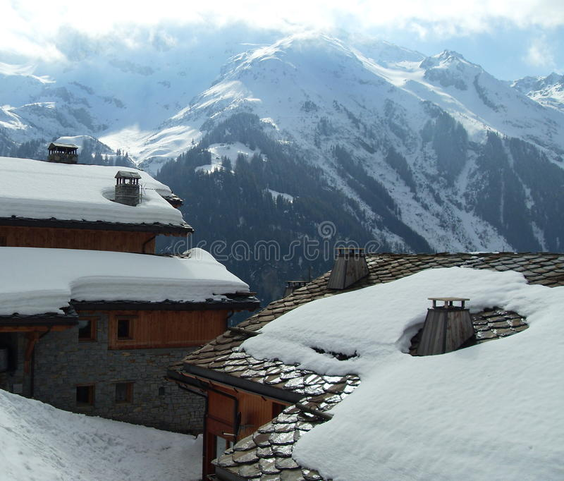 Chalets And Snow, Savoy, France Stock Photo