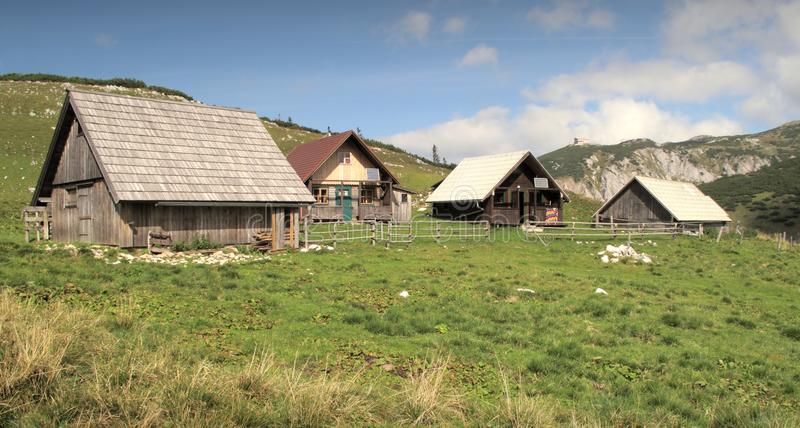 Chalets on the way from Heukuppe to Habsburk hut. Several chalets in southern part of Rax Alps in Austria stock photos
