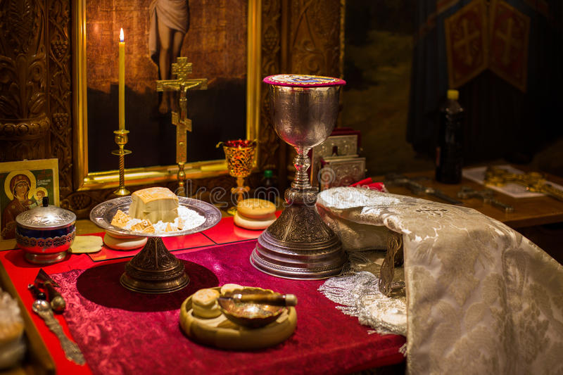 Chalice for communion in the Orthodox monastery. Kiev royalty free stock images