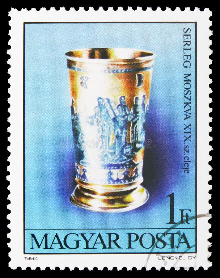 Chalice, Moscow, Art from Jewish Museum, Budapest serie, circa 1984. MOSCOW, RUSSIA - JULY 19, 2019: Postage stamp printed in Hungary shows Chalice, Moscow, Art stock images