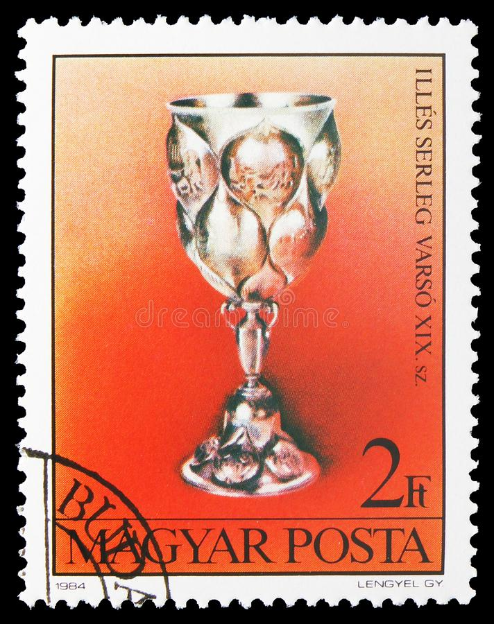 Chalice, Moscow, Art from Jewish Museum, Budapest serie, circa 1984. MOSCOW, RUSSIA - JULY 19, 2019: Postage stamp printed in Hungary shows Chalice, Moscow, Art royalty free stock photos