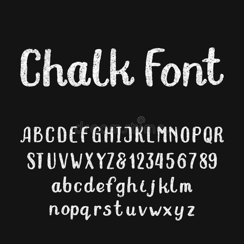Chalk alphabet font. Hand drawn type letters and numbers on a dark background. stock illustration