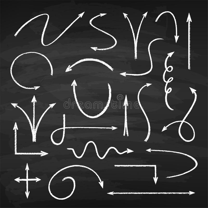Chalk arrows set royalty free illustration