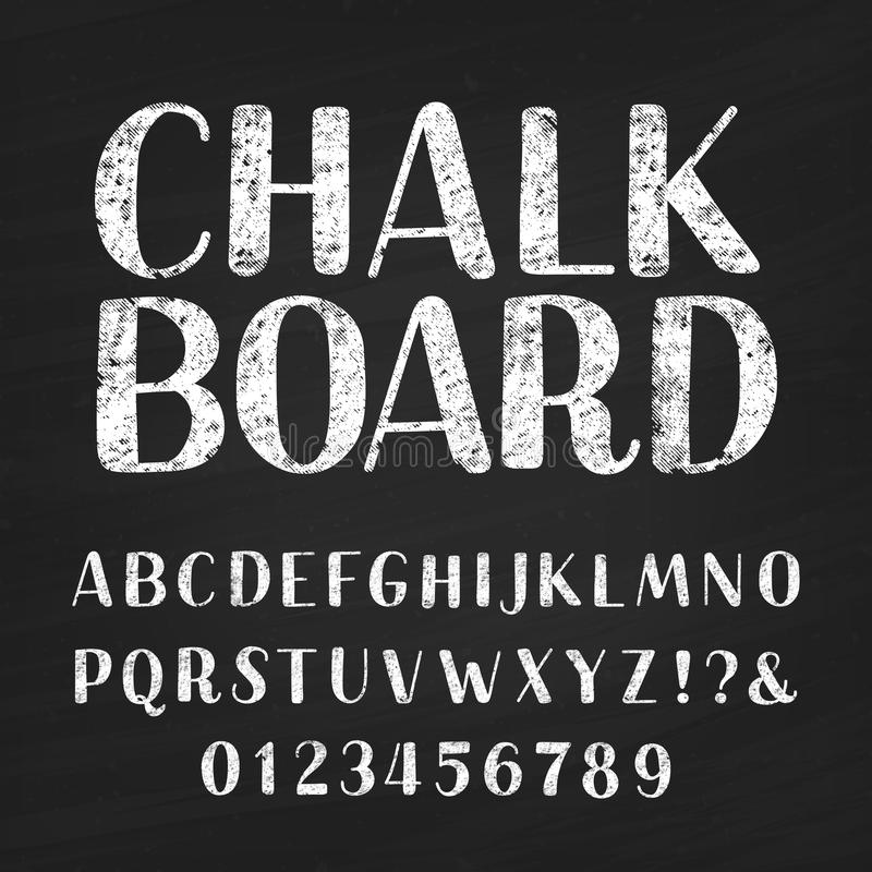Chalk board alphabet font. Hand drawn letters, numbers and symbols. vector illustration
