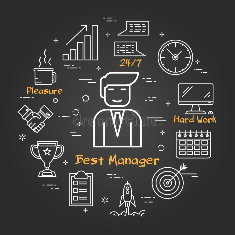 Chalk board - Businessman - Best Manager stock illustration