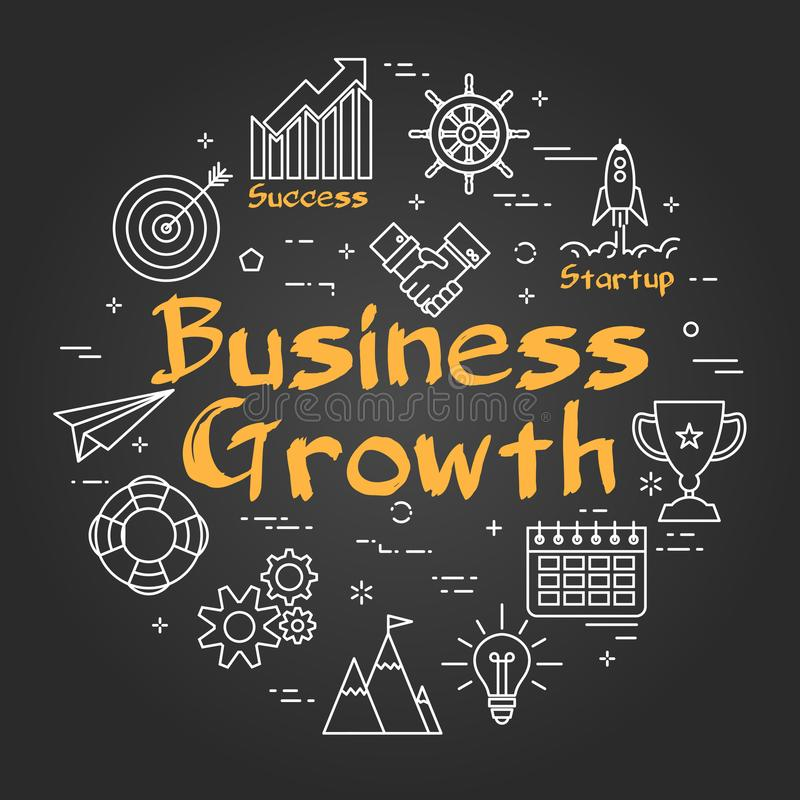 Chalk board concept - Business Growth royalty free illustration