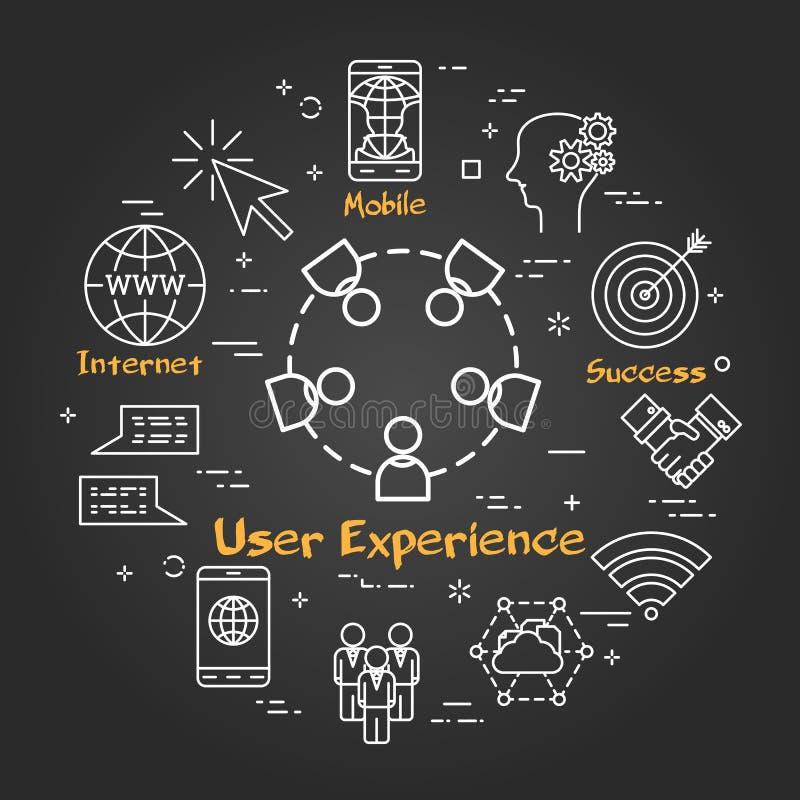 Chalk board concept - User Experience icon stock illustration
