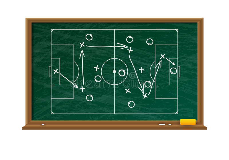 Chalk board with football game field royalty free illustration