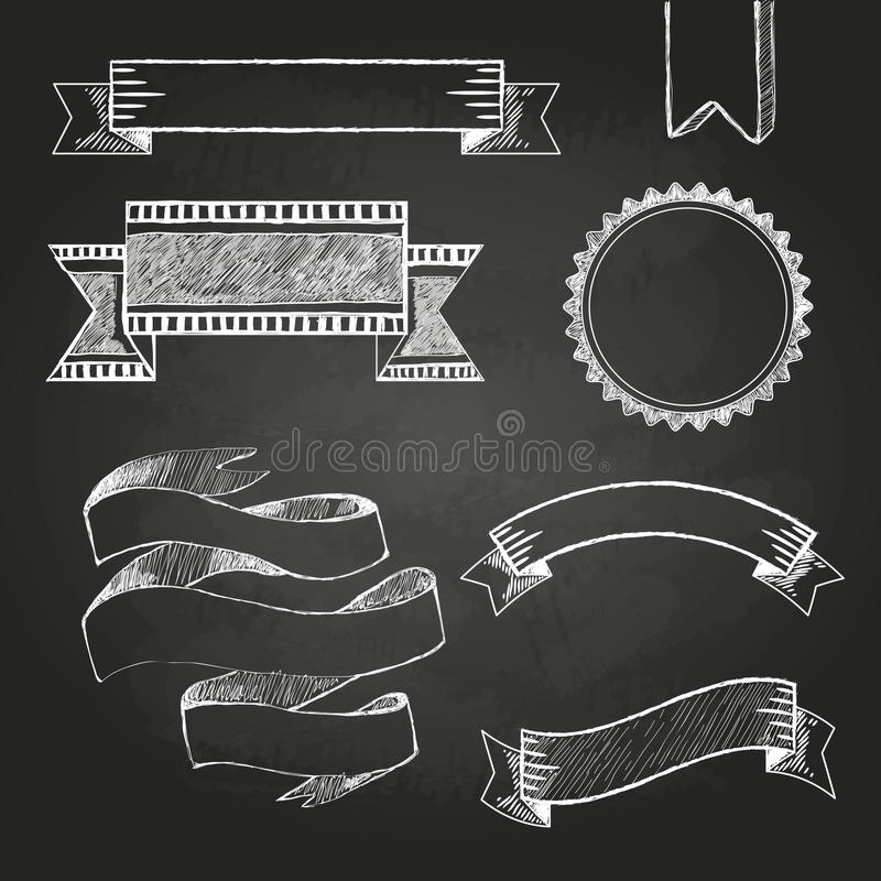 Chalk board labels, ribbons and stickers stock illustration