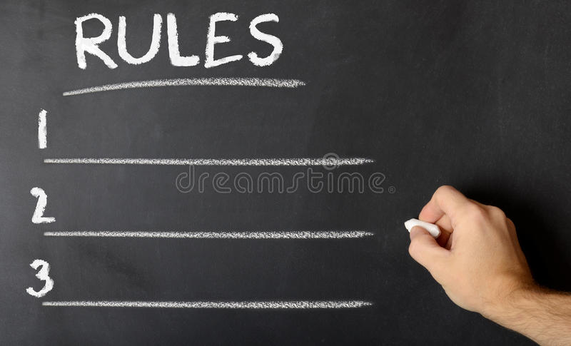 Chalk board with rules royalty free stock photos