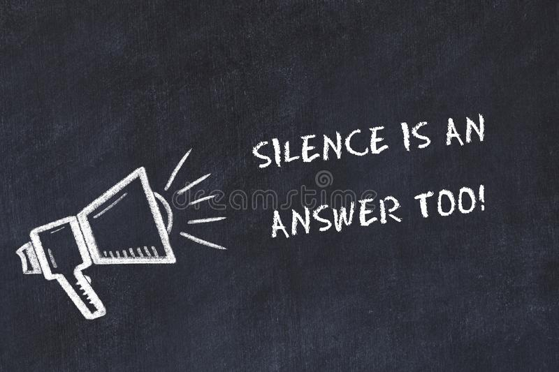 Chalk board sketch with loudspeaker and motivational phrase silence is an answer too vector illustration