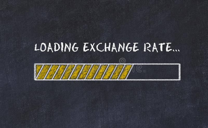 Chalk board sketch with progress bar and inscription loading exchange rate royalty free illustration