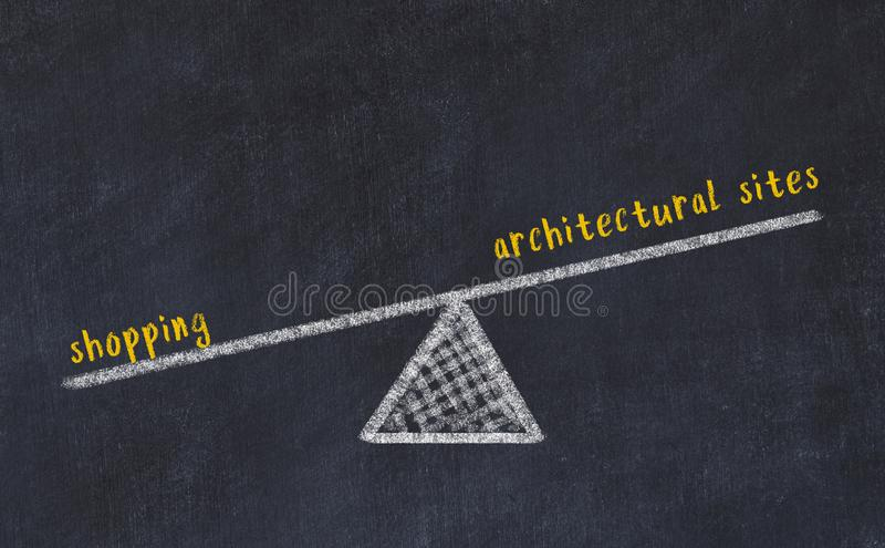 Chalk board sketch of scales. Concept of balance between architectural sites and shopping.  royalty free stock photos