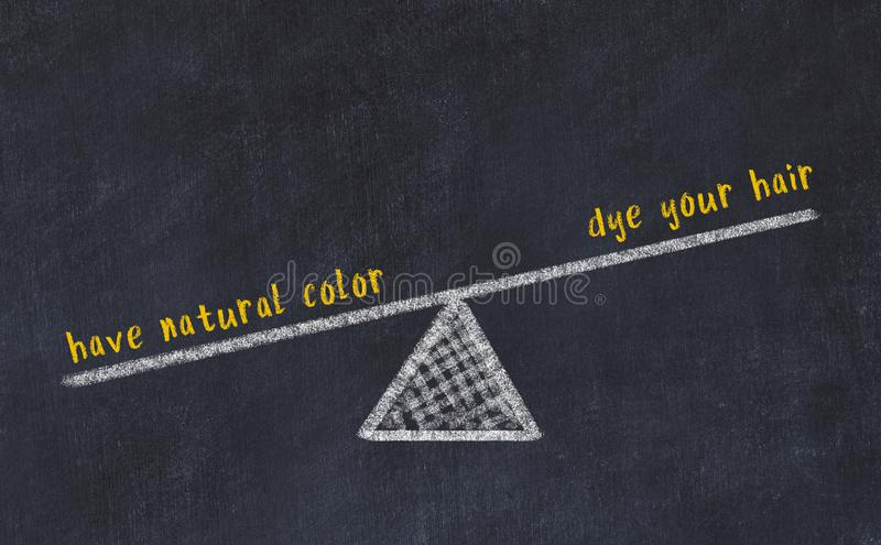 Chalk board sketch of scales. Concept of balance between dye your hair and have natural color royalty free stock image