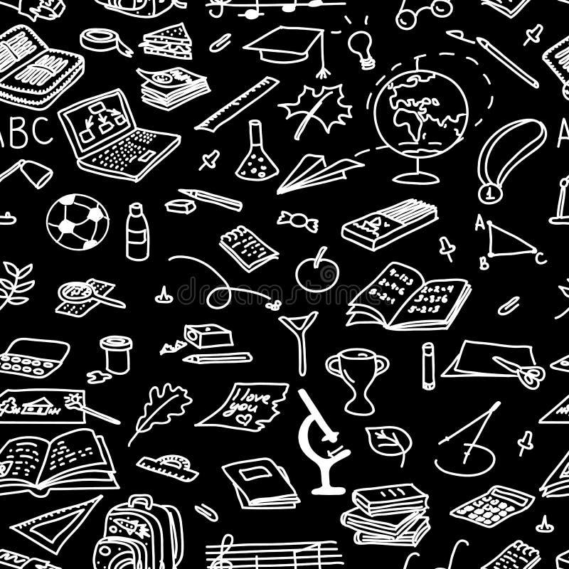 Chalk board style. back to school seamless pattern set. eraser, globe, glue, goggles, vector illustration