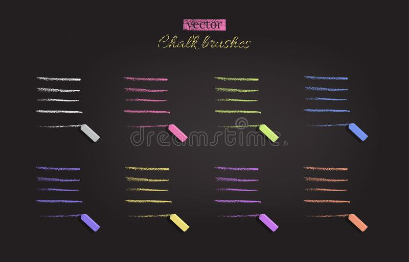 Chalk brushes with chalks.Vector different color chalk traces on black chalkboard. royalty free illustration