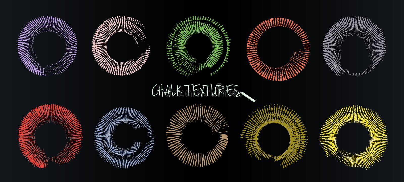 A set of vector brushstrokes. Chalk and charcoal. Paint spots. Grunge texture. Colored circles in the form of sunlight. royalty free illustration