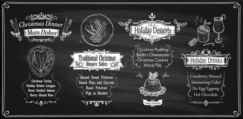 Chalk Christmas menu chalkboards design, holiday menu - main dishes, sides, desserts and drinks stock illustration